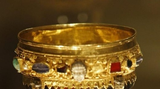 Known until now as the goblet of the Infanta Dona Urraca - daughter of Fernando I, King of Leon from 1037 to 1065 - is displayed in the Basilica of San Isidoro in Leon, northern Spain. Photo: AFP